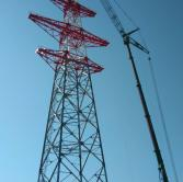 Installation of the transmission tower by the Liebherr LTM1300 crane